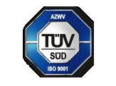Logo des TÜV Süd für die Zertifizierung nach AZWV und ISO 9001.