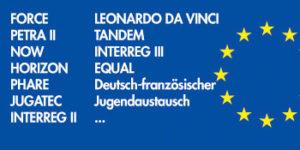 Auflistung einiger der bisher realisierten europäischen Bildungsprojekte.