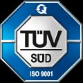 Logo des TÜV Süd für die Zertifizierung nach ISO 9001.